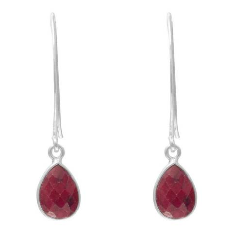 Alexa by Liv Oliver Sterling Silver Faceted Pear Shape Ruby Drops Earrings