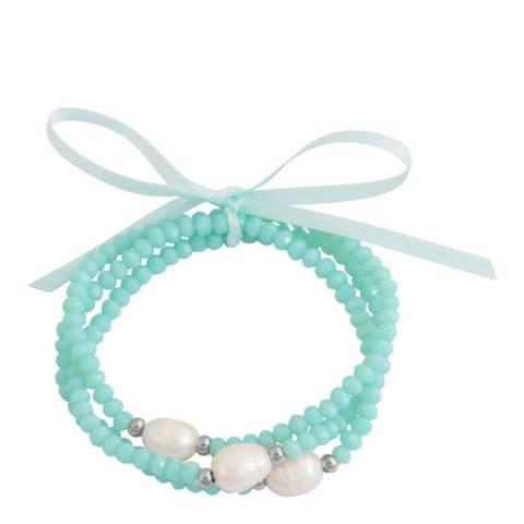 Alexa by Liv Oliver Blue Amazonite and Pearl Bracelet Set
