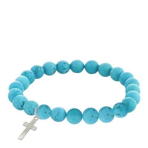 Alexa by Liv Oliver Silver Turquoises Cross  Charm Bracelet