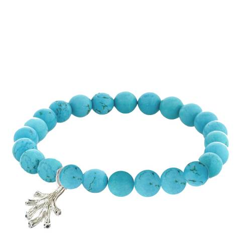 Alexa by Liv Oliver Matte Sterling Silver Turquoise Charm Bracelet