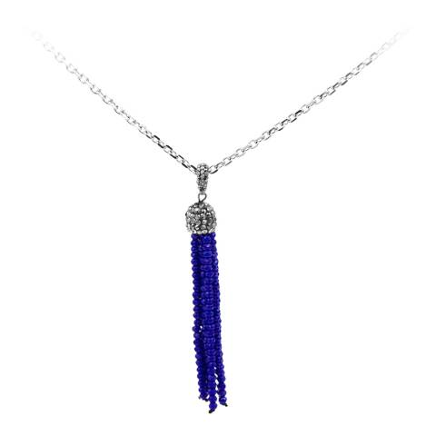 Alexa by Liv Oliver Silver/Blue Onyx Zirconia Gemstone Tassel Necklace