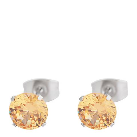 Alexa by Liv Oliver Yellow/Silver Yellow Crystal Stud Earrings