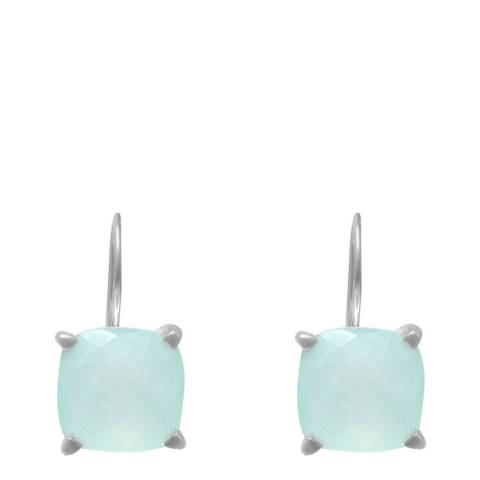 Alexa by Liv Oliver Silver Cushion Shape Chalcedony Drop Earrings