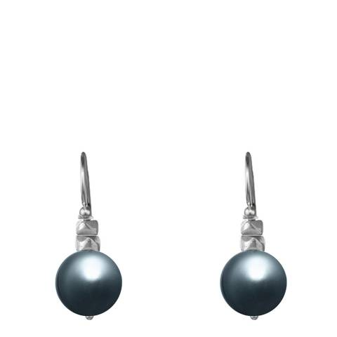 Alexa by Liv Oliver Silver Grey Pearl Studded Drop Earrings