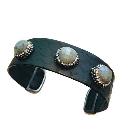 Alexa by Liv Oliver Silver Black Leather Multi Labradorite Crystal Cuff