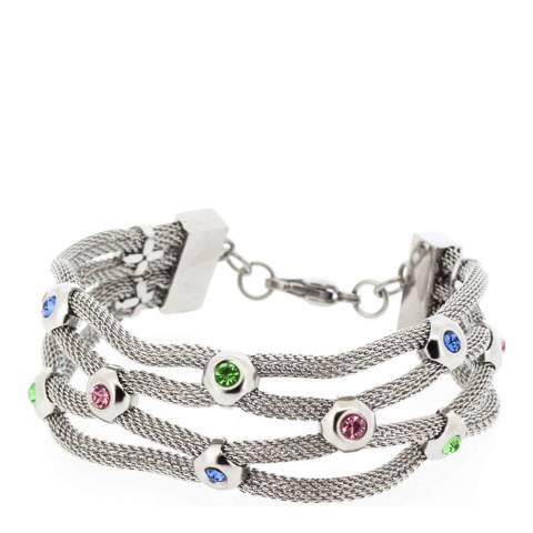 Alexa by Liv Oliver Silver Multi Gemstone Woven Bracelet