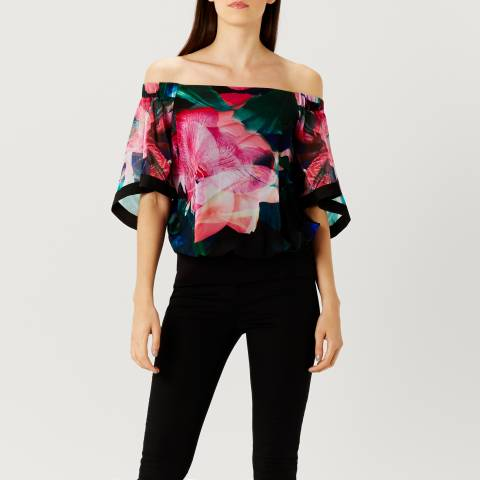 Coast Black Irkime Floral Bardot Top