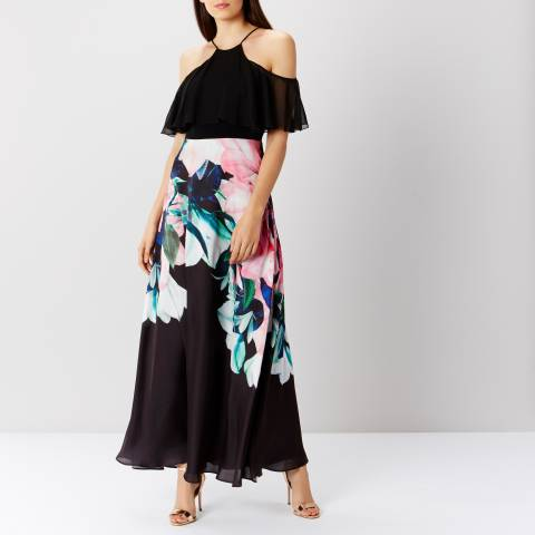 Coast Black/Multi Flamenco Print Maxi Dress