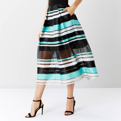 Coast Black/Blue Sofia Stripe Skirt