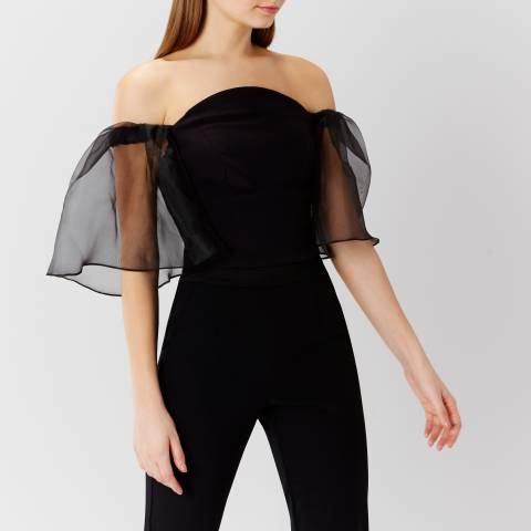 Coast Black Ramone Organza Sleeve Top