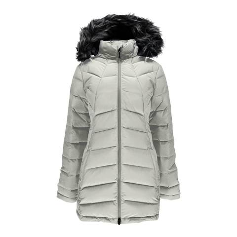 Spyder Women's White Syrround Long Faux Fur Down Coat