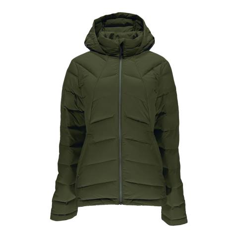 Spyder Women's Khaki Syrround Hooded Down Jacket