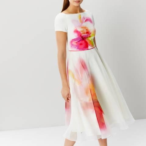Coast White/Pink/Floral De Mores Midi Dress
