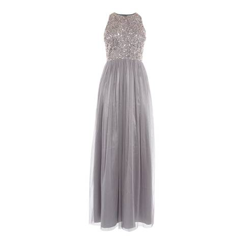 Coast Silver Ru Sequin Tulle Prom Dress