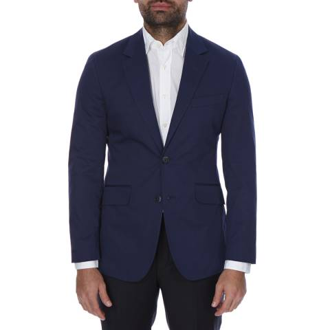 Hackett London Navy Stretch Cotton Blend Jacket