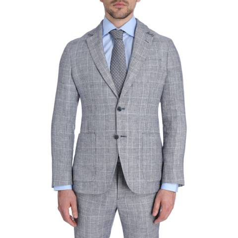 Hackett London Navy/White Linen Check Jacket