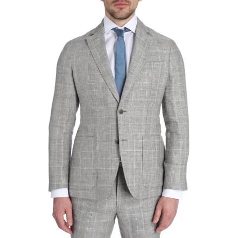 Hackett London Brown/White Linen Check Jacket