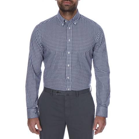 Hackett London Blue/White Check Cotton Button Down Shirt