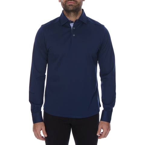 Hackett London Blue Long Sleeve Cotton Polo Neck Top