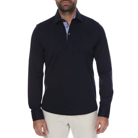 Hackett London Navy Long Sleeve Cotton Polo Neck Top