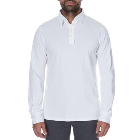 Hackett London White Long Sleeve Pique Cotton Polo Neck Top