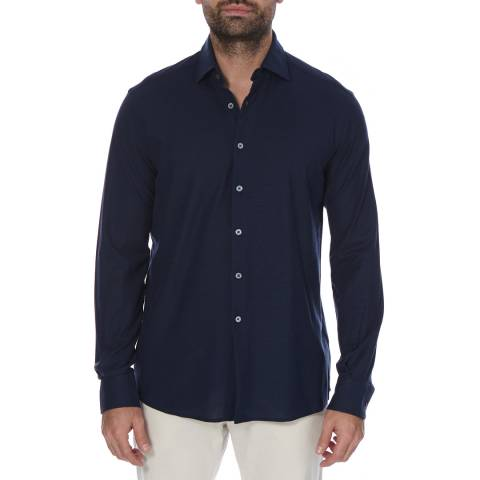 Hackett London Navy Long Sleeve Pique Cotton Polo Neck Top