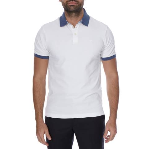 Hackett London White Short Sleeve Contrast Trim Cotton Polo Neck Top