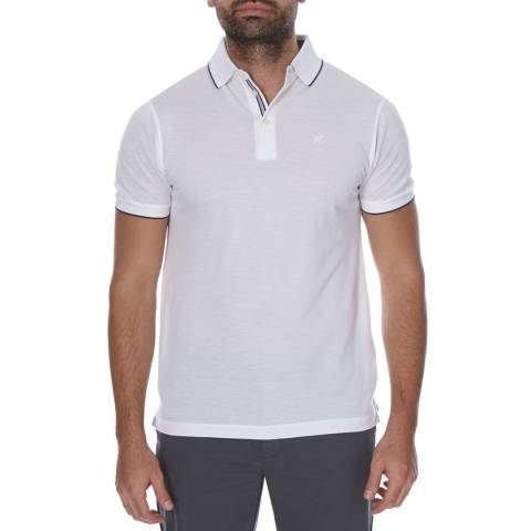 Hackett London White Short Sleeve Edged Polo Neck Top