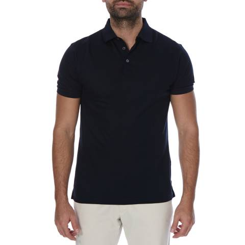 Hackett London Navy Short Sleeve Slim Fit Cotton Polo Neck Top