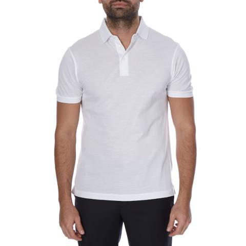 Hackett London White Short Sleeve Slim Fit Cotton Polo Neck Top