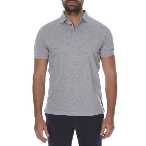Hackett London Grey Short Sleeve Slim Fit Cotton Polo Neck Top