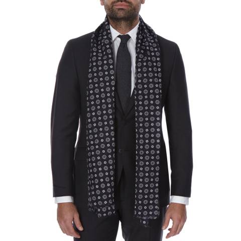 Hackett London Navy Flower Print Cotton Scarf