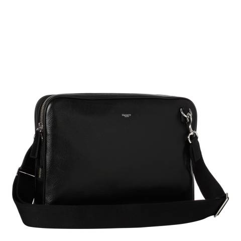 Hackett London Black Pebble Leather Slim Lapotop Case