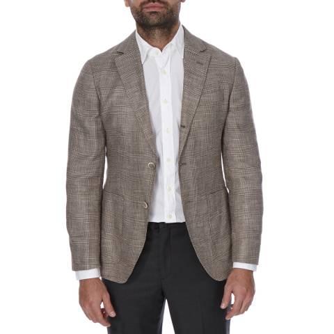 Hackett London Brown Checked Wool Glen Jacket