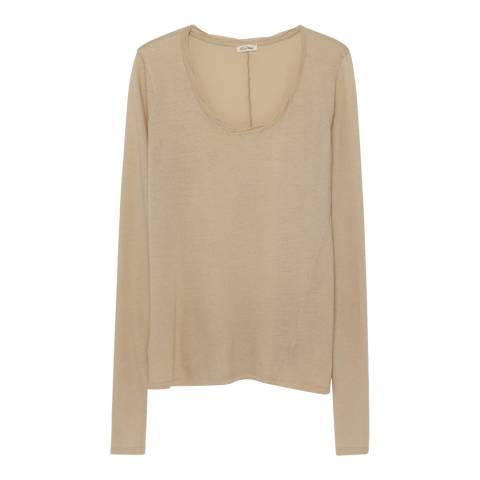 American Vintage Oat Long Sleeve Cotton Top