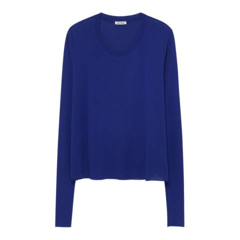 American Vintage Blue Long Sleeve Supima Cotton Top