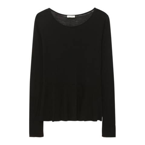 American Vintage Black Subtle Flare Wool Jersey Top