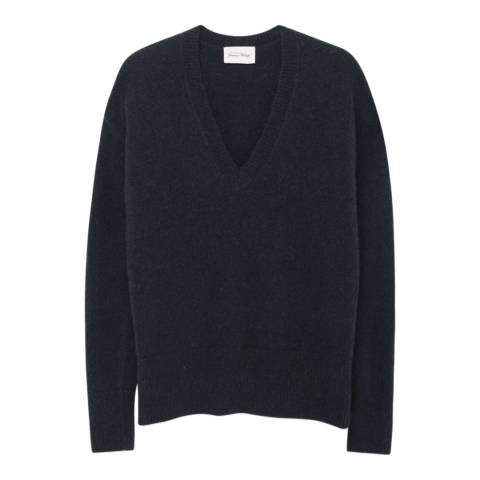 American Vintage Lead V Neck Wool Blend Jumper