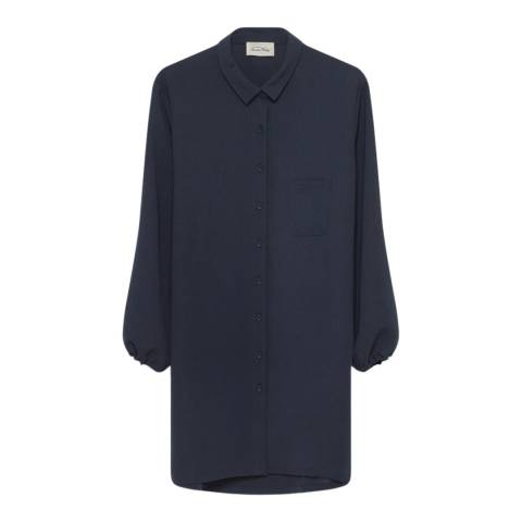 American Vintage Navy Oversized Puff Sleeve Shirt