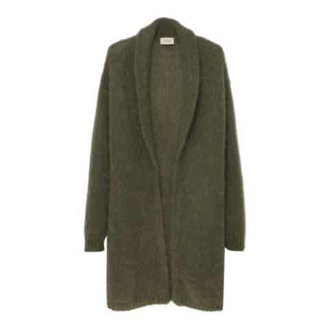 American Vintage Khaki Shawl Collar Wool Blend Cardigan