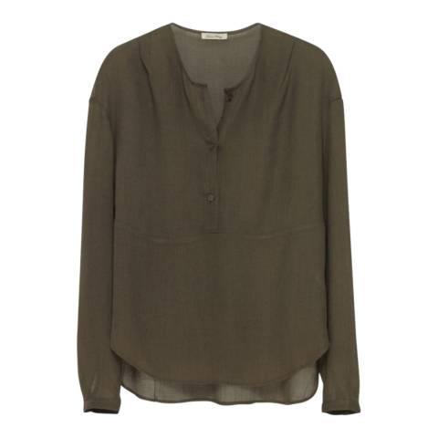 American Vintage Green Tunisian Long Sleeve Wool Blend Top