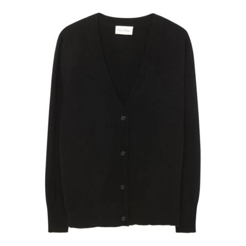 American Vintage Black V Neck Wool and Cashmere Blend Cropped Cardigan