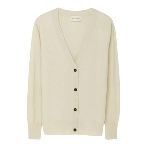 American Vintage Cream V Neck Wool and Cashmere Blend Cropped Cardigan