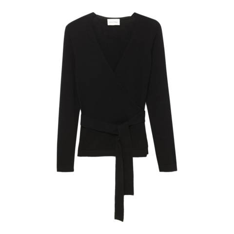 American Vintage Black Crossover Neck Wool Cardigan