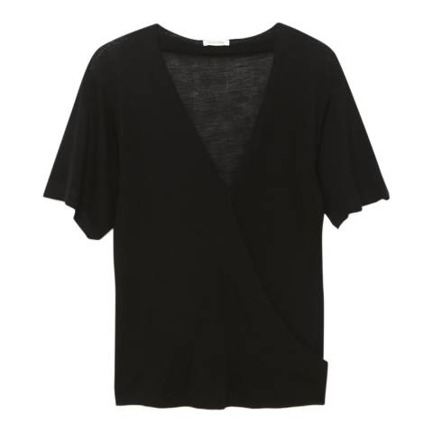 American Vintage Black Asymmetric Wool Jersey T-Shirt