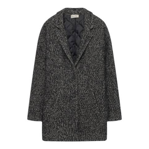 American Vintage Black/White Cocoon Wool Blend Coat