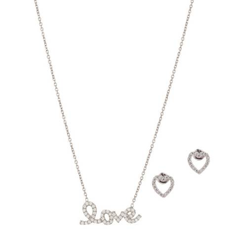 Ingenious Silver Love Earring and Necklace Set
