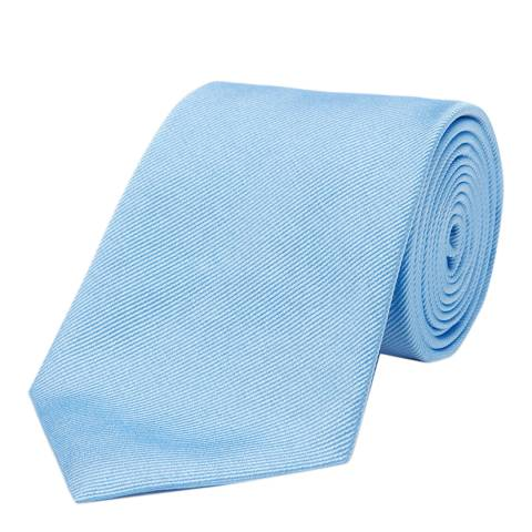 Turnbull & Asser Sky Plain Twill Woven Silk Tie