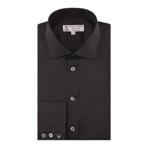 Turnbull & Asser Black Slim Fit Cut Away Collar Button Cuff Stretch Cotton Shirt