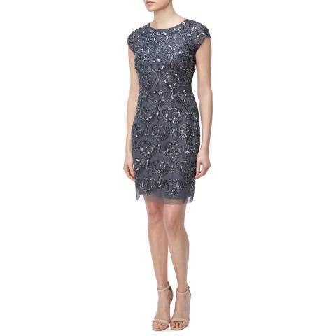 Aidan Mattox Gunmetal Embellished Mesh Short Dress
